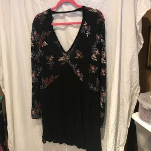 lace mini dress embroidered black tunic
